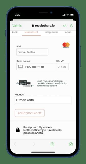 2. Lisää käyttämäsi maksukortit
